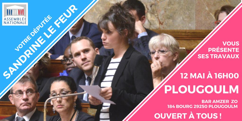 Le 12 mai à Plougoulm, Sandrine Le Feur organise une réunion publique et délocalise sa permanence