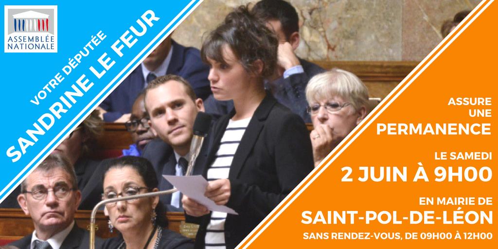 Permanence de Sandrine Le Feur à Saint-Pol-de-Léon le 2 juin 2018