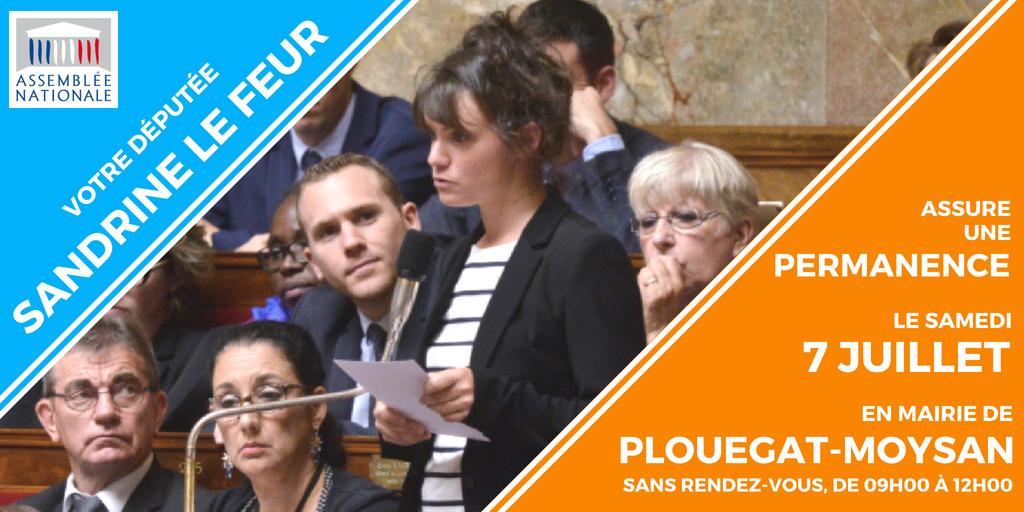 Plouegat-Moysan 7 juillet : permanence de Sandrine Le Feur en mairie