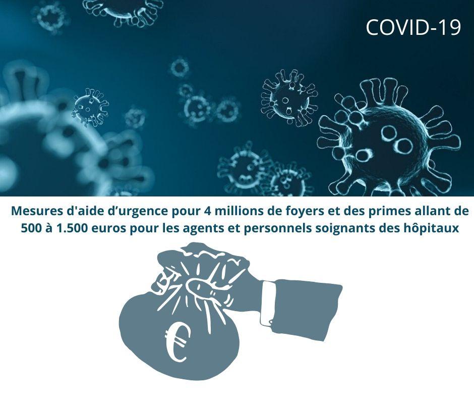 Covid-19 – Mesures d'aide d'urgence pour 4 millions de foyers précaires et primes pour les agents et personnels soignants des hôpitaux