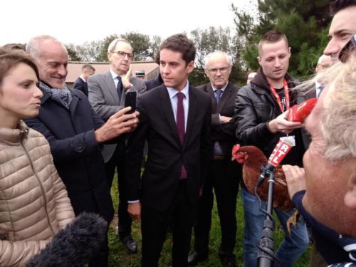 Déplacement de Gabriel Attal, secrétaire d'Etat à la jeunesse sur la circonscription, Saint-Sauveur, Plouénan, Lycée agricole de Suscinio, 4 octobre 2019