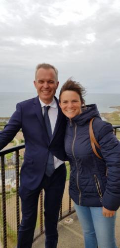 Sur l'Île de Batz, avec François de Rugy, pour l'inauguratin d'une expo sur le phare (24/08/2018)
